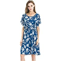 Bearsland Women's Summer Floral Cloak Design Maternity Breastfeeding Dress Nursing Dress