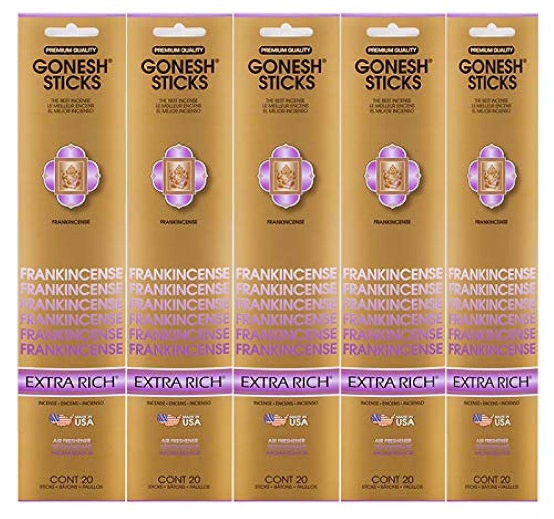 摂氏テンポサバントGonesh Incense Sticks Extra Richコレクション – Frankincense 5パック(合計100 )