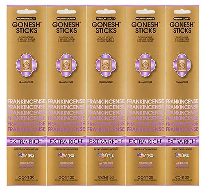 ストリーム東ティモールずっとGonesh Incense Sticks Extra Richコレクション – Frankincense 5パック(合計100 )