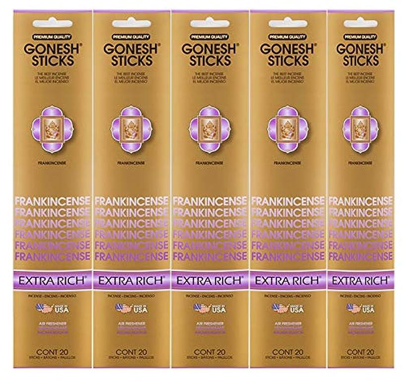 旅行体操選手なだめるGonesh Incense Sticks Extra Richコレクション – Frankincense 5パック(合計100 )