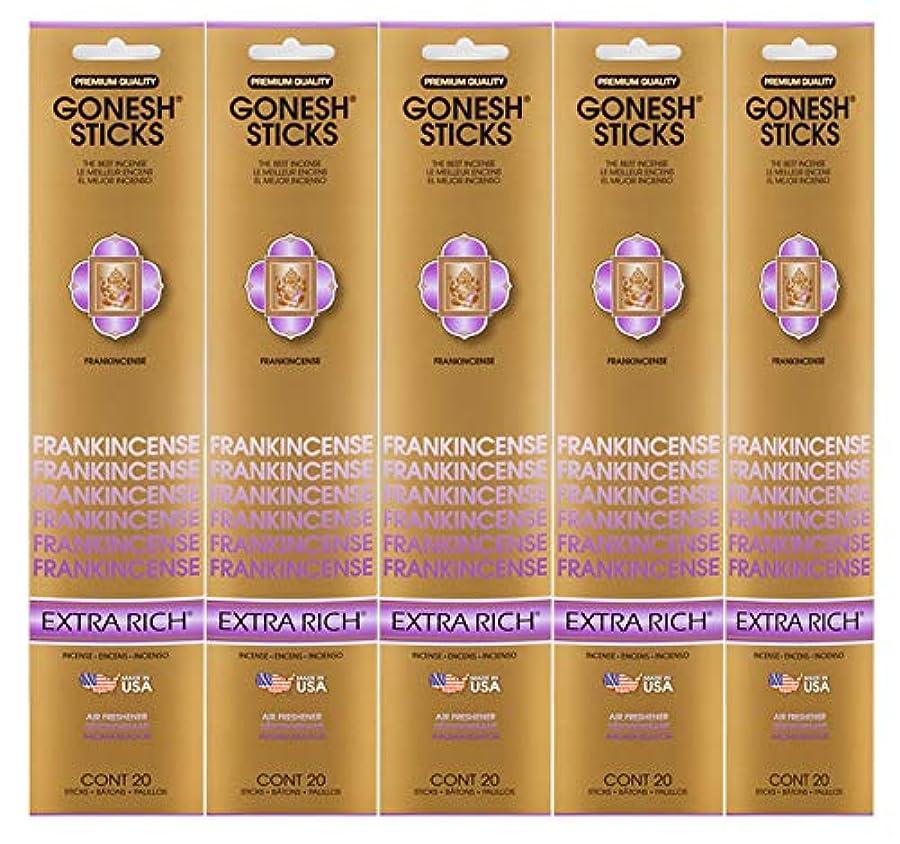 求人バット批判的Gonesh Incense Sticks Extra Richコレクション – Frankincense 5パック(合計100 )