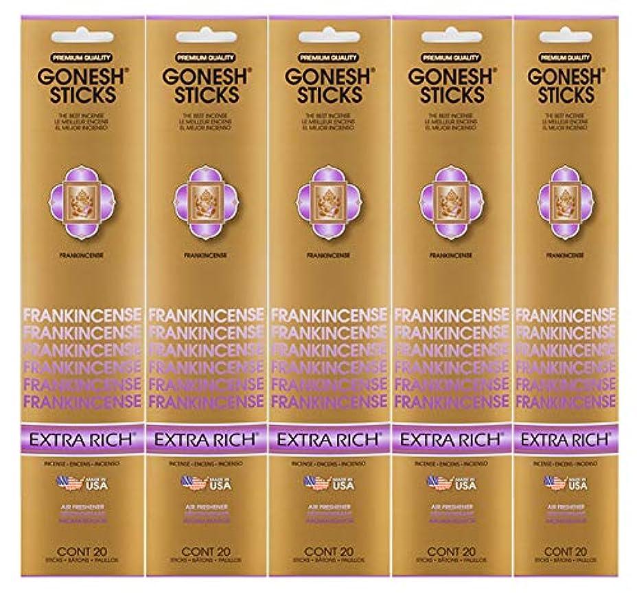 郵便うぬぼれサンダーGonesh Incense Sticks Extra Richコレクション – Frankincense 5パック(合計100 )