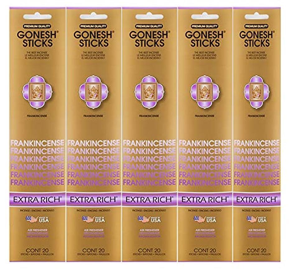 励起涙が出る電報Gonesh Incense Sticks Extra Richコレクション – Frankincense 5パック(合計100 )