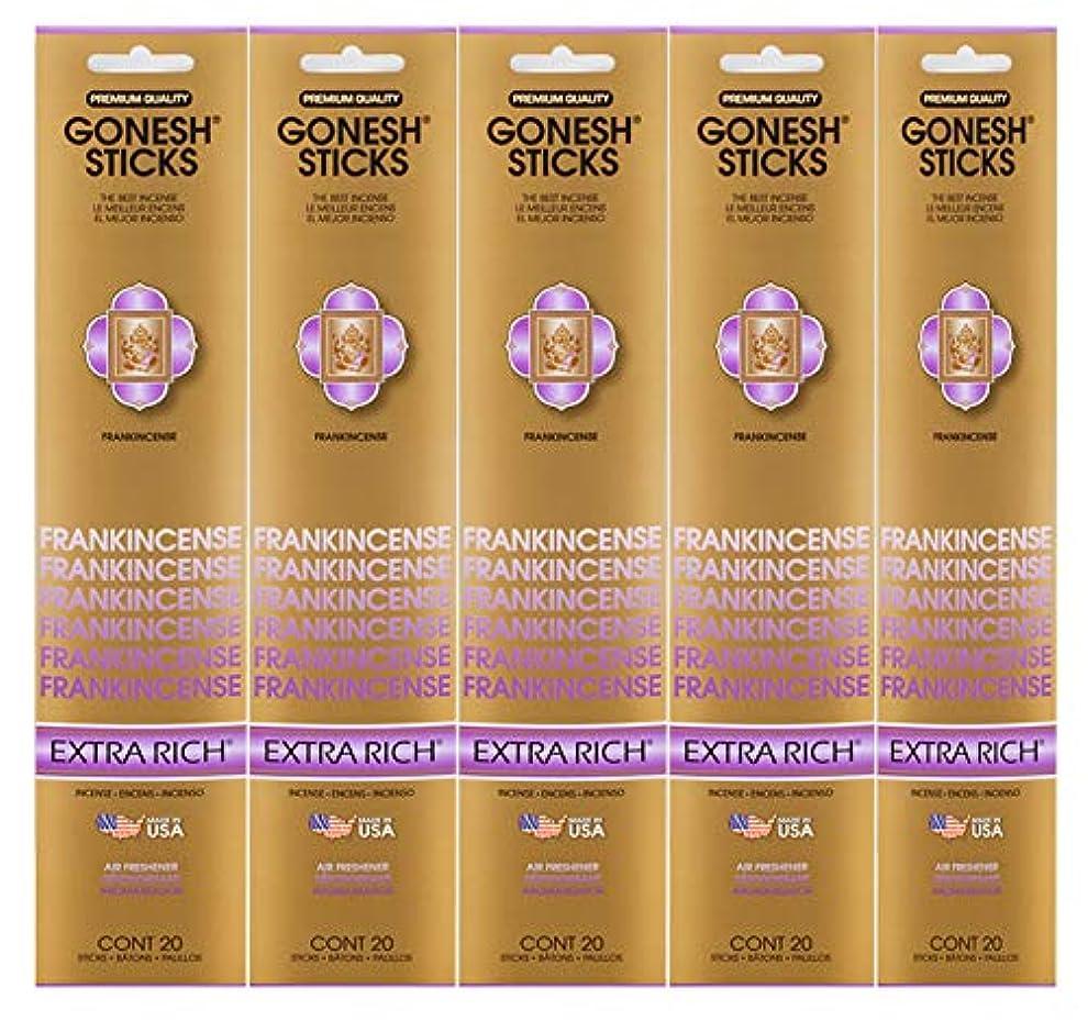 調停者競争ヒゲクジラGonesh Incense Sticks Extra Richコレクション – Frankincense 5パック(合計100 )