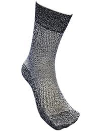 【KM77M】小さめサイズ さわやか蒸れない快適メッシュ先丸靴下 高級コーマ綿糸使用 安全靴や作業に 杢5足組 23~25