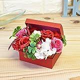 シャボンフラワー フラワーポット フレグランスフラワー ソープフラワー 香りのブーケ ギフトBOX ピンク 母の日 誕生日 プレゼント (BOX(S) レッド)