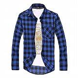 (ティースタイル) T-Style チェック 柄 コットン シャツ 長袖 メンズ トップス 赤 黒 (22.青×黒M)
