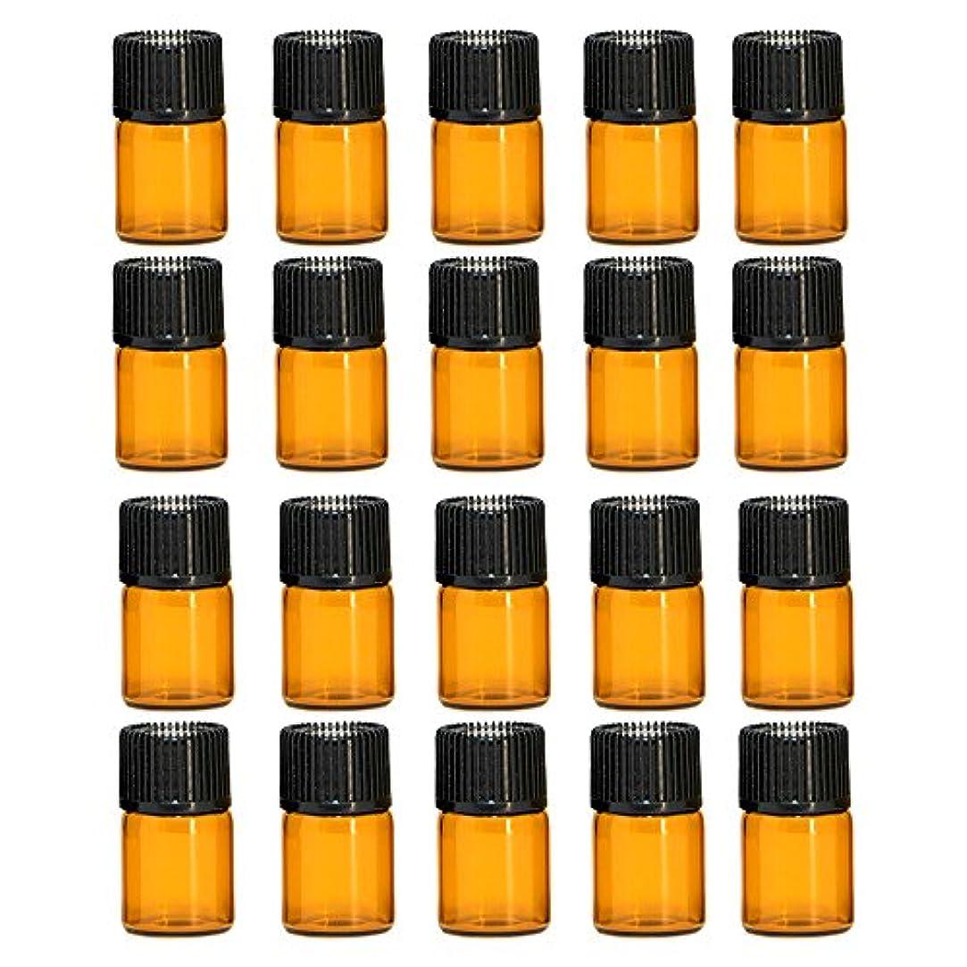 ツイン不足備品ゴシレ Gosear 20個のミニポータブル旅行2ML茶色の空の詰め替え可能なガラスのボトルエッセンシャルオイルの容器黒い帽子とボトル