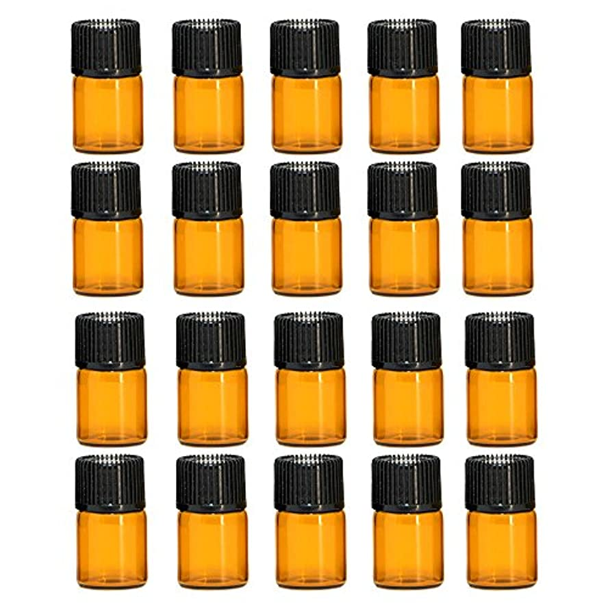 その今後毎年ゴシレ Gosear 20個のミニポータブル旅行2ML茶色の空の詰め替え可能なガラスのボトルエッセンシャルオイルの容器黒い帽子とボトル