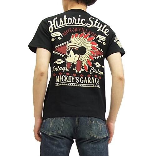 (ローブローナックル) ミッキーマウス Tシャツ 58501 インディアン メンズ 半袖tee ブラック (L)