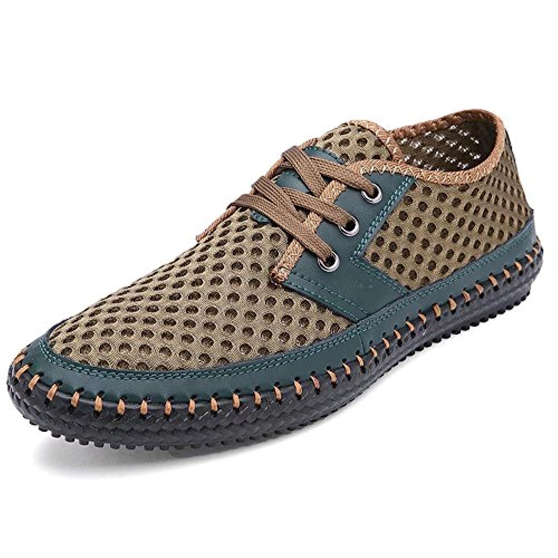 Goodgoods スニーカー 本革シューズ メンズ靴 スポーツシューズ 大きいサイズ靴 手作りスニーカー 013-sszx-3166(48 グリーン )