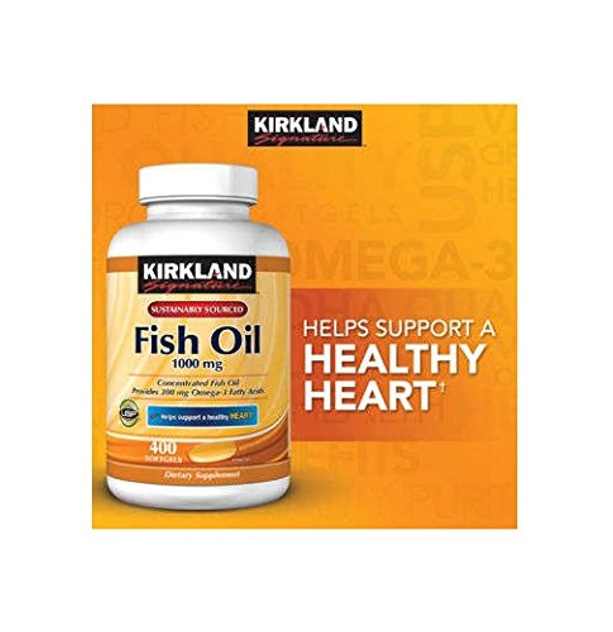 血血色の良い競争Kirkland Signature Omega-3 Fish Oil Concentrate, 400 Softgels, 1000 mg Fish Oil with 30% Omega-3s (300 mg) 1200...