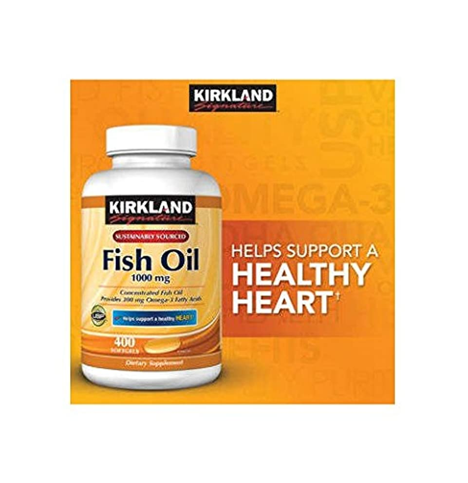 Kirkland Signature Omega-3 Fish Oil Concentrate, 400 Softgels, 1000 mg Fish Oil with 30% Omega-3s (300 mg) 1200...