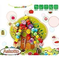 (アスコット) Askotto 赤ちゃん ビーズ おもちゃ 知育 木製 ツリー 動物 紐通し ビーズ遊び 収納袋付き