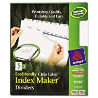 100% Recycled Index Maker Dividers, White 5-Tab, 11 x 8-1/2, 5 Sets/Pack (並行輸入品)