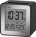 リズム時計 RHYTHM 電波 目覚まし 時計 フィットウェーブD158 小型 ミニ キューブ デジタル ブラック 8RZ158SR02