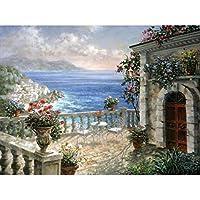 海辺の風景diyダイヤモンド絵画ラウンドドリルフル刺繍ダイヤモンドモザイクカウントクロスステッチキット趣味や工芸品,30x40cm