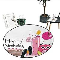 """18歳の誕生日 ノンスリップ ラウンドラグ フライングパーティーバルーン カーリーロープ付き 18歳のイメージアートプリント リビングダイニングルーム 寝室 廊下 オフィス カーペット (直径24インチ) レッド グリーン ブルー D28""""/0.7m"""