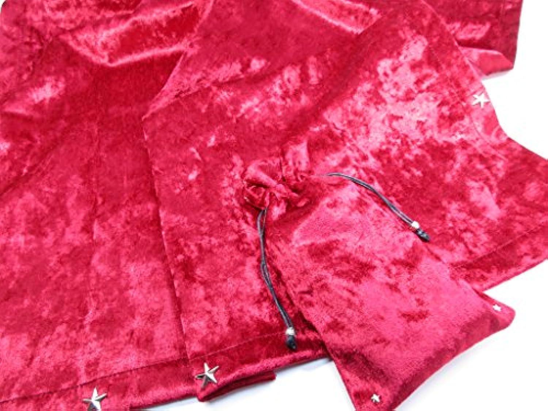 RELIGHT タロットクロス ポーチ 2点セット 赤色 高級ベルベット 星 フラワーオブライフ ステッカー 付 sp‐66(65cm×65cm) (レッド)