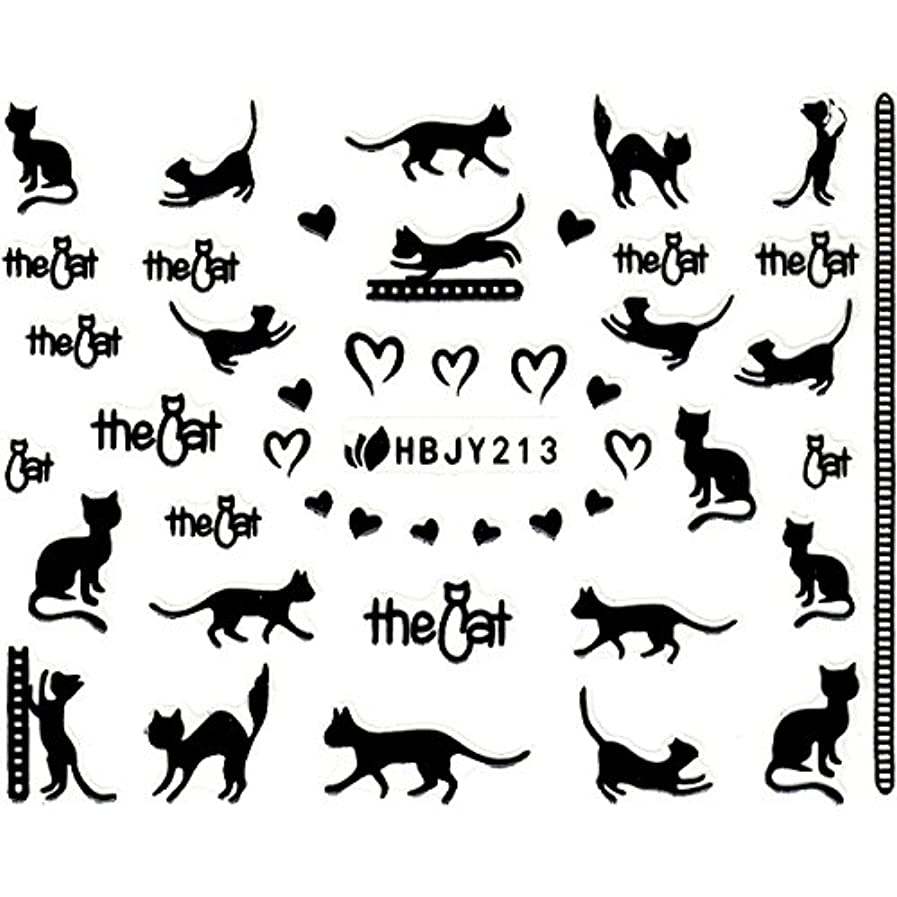 下手問い合わせ短命ネイルシール ねこ 猫 黒猫 クロネコ 選べる12種類 (ブラックNB, 02)