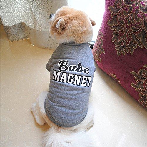 犬服 Hosam ドッグウェア 夏用 Tシャツ 半袖 小型犬 ワンちゃん 猫 夏着物 虫除け 蚊に刺され止め 脱毛保護 (L, グレー)