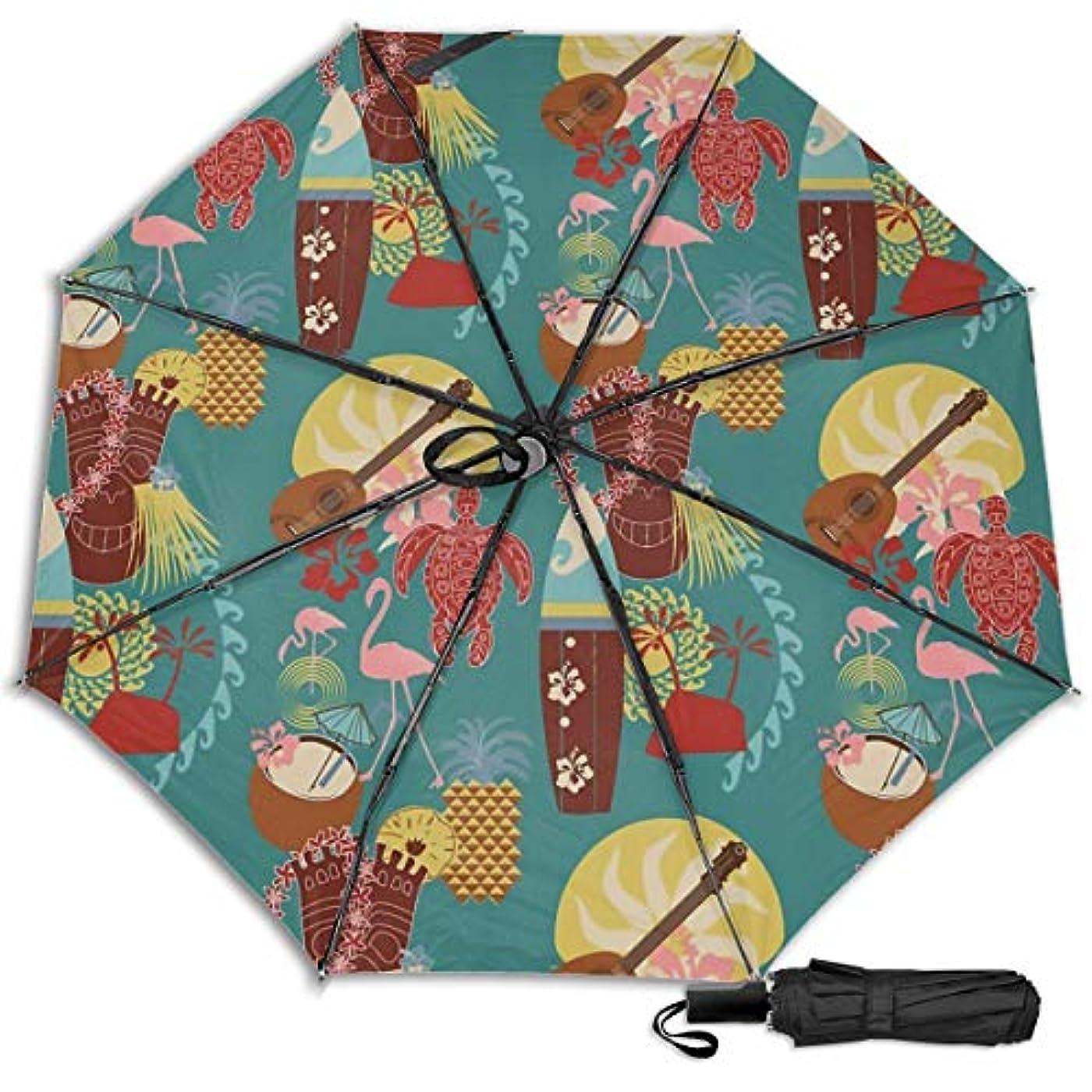 選挙起業家盆地ティキヒルトンハワイアンビレッジワイキキビーチ日傘 折りたたみ日傘 折り畳み日傘 超軽量 遮光率100% UVカット率99.9% UPF50+ 紫外線対策 遮熱効果 晴雨兼用 携帯便利 耐風撥水 手動 男女兼用