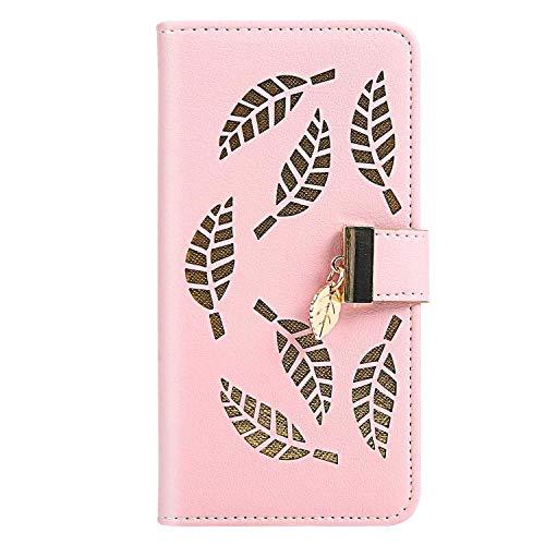 Nokia 3.2 ケース, ZeeboxR 高級感PUレザー 軽量薄型 財布型人気カバー, 人気 葉っぱエンボス加工 電話ケース, 付き金属製磁気バックル カード収納付 Nokia 3.2 用 Case Cover, ピンク