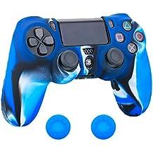 PS4 コントローラー用シリコン スキン ケース 保護カバー x 1( 迷彩ブルー) 耐衝撃 高品質 + ティック カバー x 2