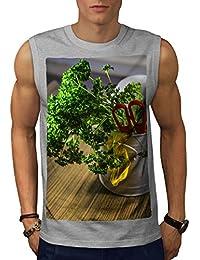 Wellcoda 野菜 庭園 フード 男性用 S-5XL 袖なしTシャツ