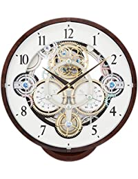 Small World(リズム時計) 機械式時計をイメージした《ギアからくり時計》 プラスチック枠/木目調仕上げ 4MN515RH23