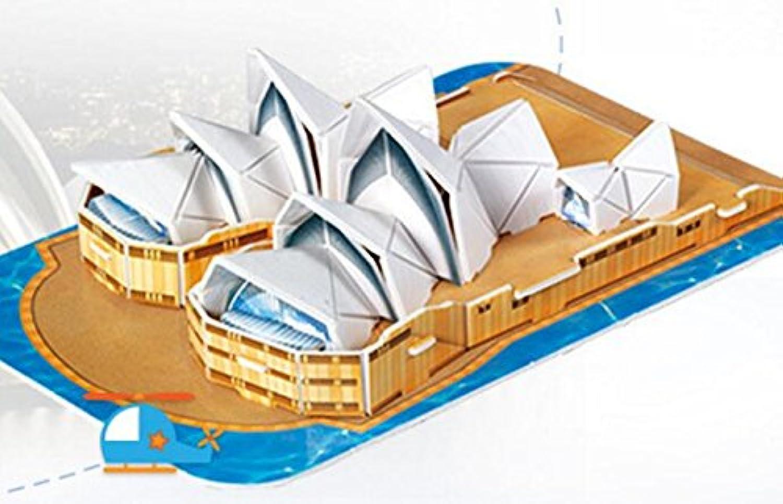 HuaQingPiJu-JP 創造的な教育3Dパズルアーリーラーニング建設子供のためのおもちゃファンタスティックギフト(シドニーオペラハウス)