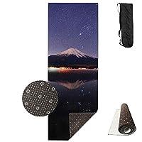 富士山 夜景 ヨガマット 収納ケース付き エクササイズマット ピラティスマット トレーニングマット ニトリルゴム 折りたたみ 180×61cm