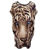 SODIAL(R) 女性のルーズなTシャツ ドルマンスリーブ 動物プリントの上着 ブラウス