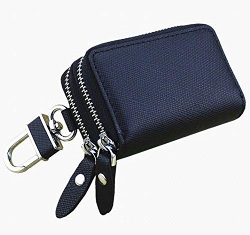 パプア (PAPUA) スマート キーケース ダブルファスナー タイプ キーカバー レディース メンズ キーフック 人気 鍵 かぎ キー 革 皮 K-01 (ブラック)
