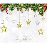 クリスマス飾り 星型 オーナメント グッズ CHRISTMAS X'mas 飾り 装飾 幸せを運ぶ スター クリスマス パーティー ウォールデコ 壁掛け 吊るし飾り (ゴールド)