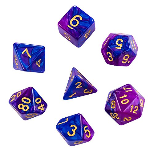 7-die Dice Set by ifergoo 2つの色、PolyhedralゲームダイスDungeons and Dragons DND RPG MTGの完全なセットボードゲームd4d6, d10d8d12d20、D %パープルブルー