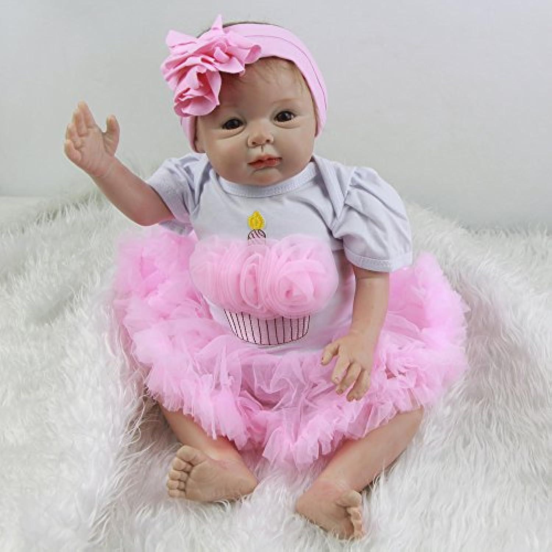 LifelikeモヘアRebornベビー人形22インチプリンセスガールズ赤ちゃんリアルなシリコン人形Toy withフルシリコン腕for sale