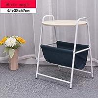 CAICOLOUR ラウンドベッドサイドテーブルラップトップテーブル家庭用小型コーヒーテーブルラック、取り外し可能セイルラックブラックウィローカラー (色 : White maple color)