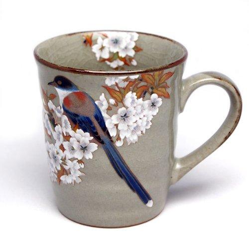 九谷焼 陶器 マグカップ 山桜に鳥