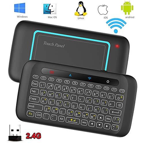 Xmony H20 ミニ キーボード 2.4G ワイヤレス 5インチタッチパッド搭載 LED バックライト搭載 Android スマートTV/PC etc/XBox 360/ PS3/HTPC/IPTV/Windows等対応 USBレシーバー付き
