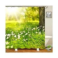 Aooaz 遮光 シャワーカーテン お風呂の窓用 165x180CM グリーン 花柄 ツリー ポリエステル製 シャワーカーテン