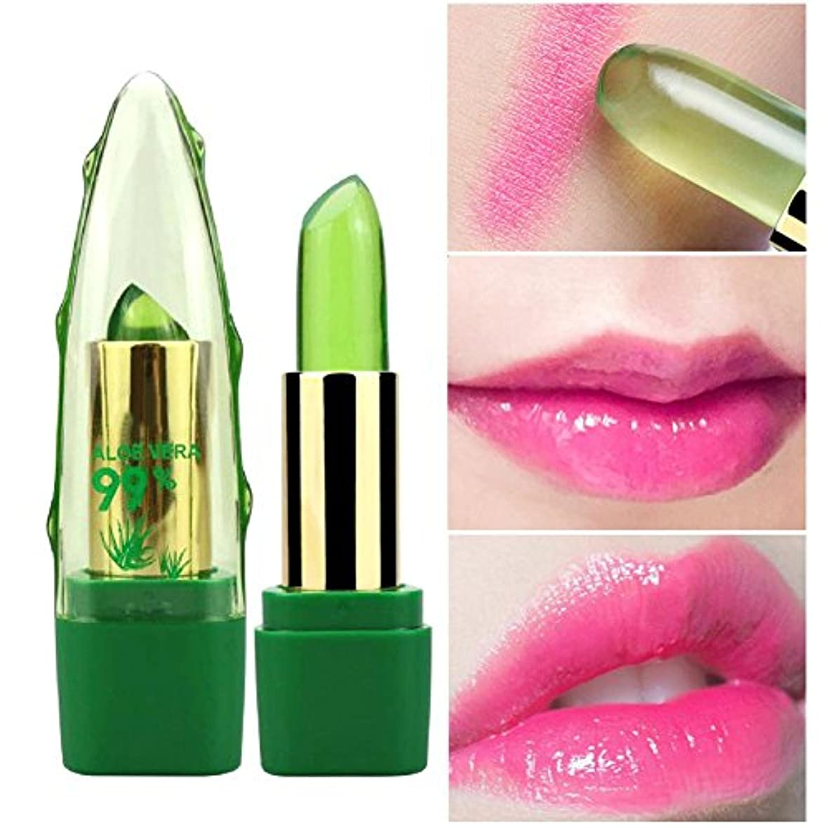 破壊的ワイヤー水曜日アロエベラゼリー リップクリーム 温度変化色 保湿 リップバーム 防水 長持ち 持ち運び リップスティック 天然植物 有機 健康 高輝度色で美しい唇を彩りルージュ