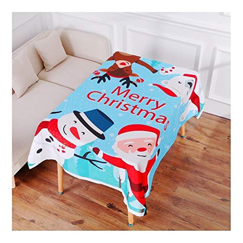 オーロック頑固なきちんとした布製テーブルクロス クリスマステーブルクロス ブルークリスマステーブルクロスクリスマス漫画老人雪だるまエルクテーブルクロス、クリスマスのホームデコレーション140 * 195センチメートル ホリデーギフト