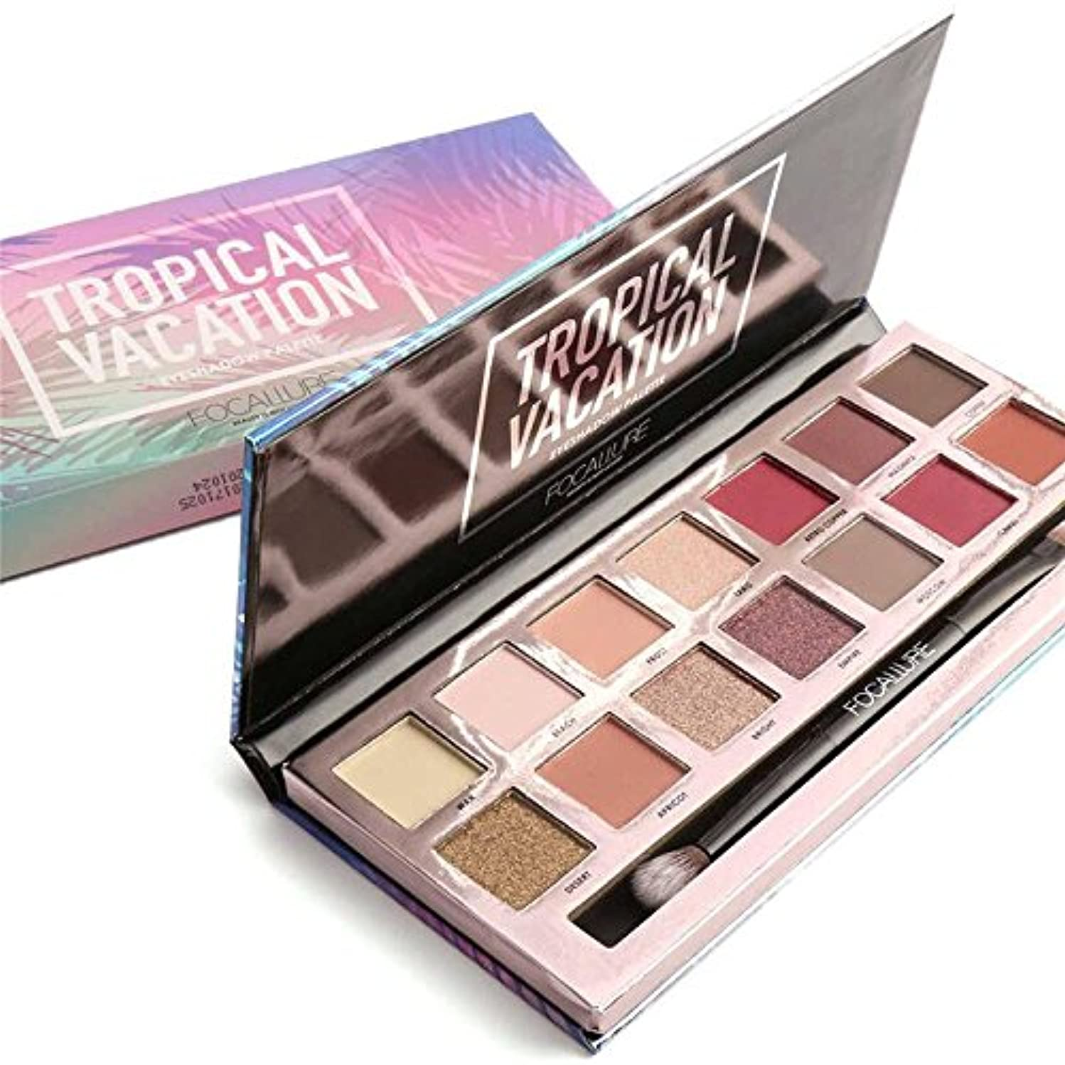14 Colors Eyeshadow Palette Matte Glitter Shimmer Tropical Vacation Eyeshadow Palette with Brush 14色のマット?グリッター?シマー...