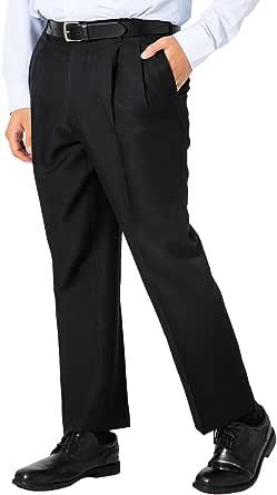 [ニュートピア] 快適パンツ 通年用 スラックス 大きいサイズ メンズ ツータック すそ上げ済み ウォッシャブル ノンアイロン 吸汗速乾 選べる股下