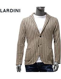 (ラルディーニ) LARDINI ジャケット ニット ストライプ織り ベージュ×ブラウン EELJM22 EE50003 210 [並行輸入品]