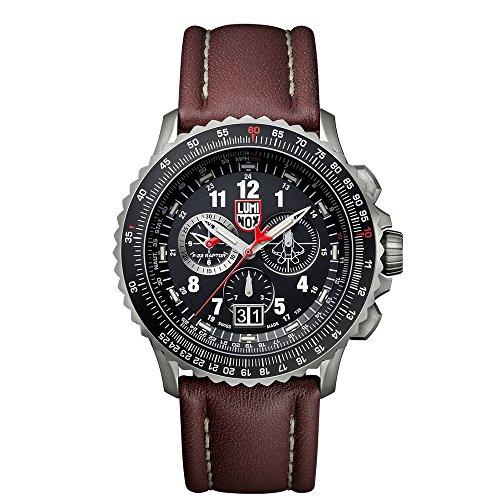 Luminox 9247メンズAir F - 229240ブラックダイヤルブラウンレザーストラップクロノDive Watch