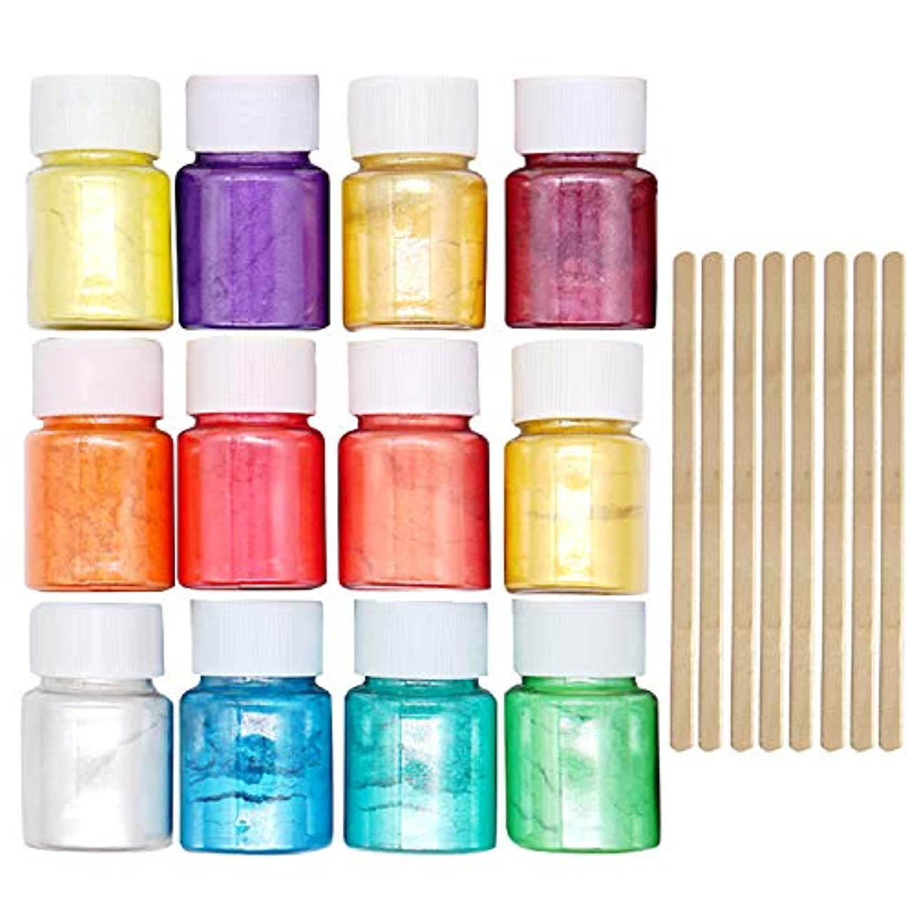 葉っぱ質素なポンドマイカパウダー Migavan マイカパールパウダー 12色着色剤顔料雲母真珠パウダーで8ピース木製攪拌棒diyネイルアートクラフトプロジェクトスライム作り用品