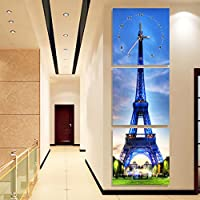 Frameless Painting Wall Clocks 3枚の時計と時計、クリエイティブな芸術の時計、リビングルームの入り口装飾、垂直バージョン ( 色 : B , サイズ さいず : 60*60 cm )