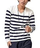 ジョーカーセレクト(JOKER Select) 長袖Tシャツ メンズ ロンT ロングTシャツ ボーダーTシャツ ボーダー Vネック おしゃれ M ホワイト/ネイビー(01)